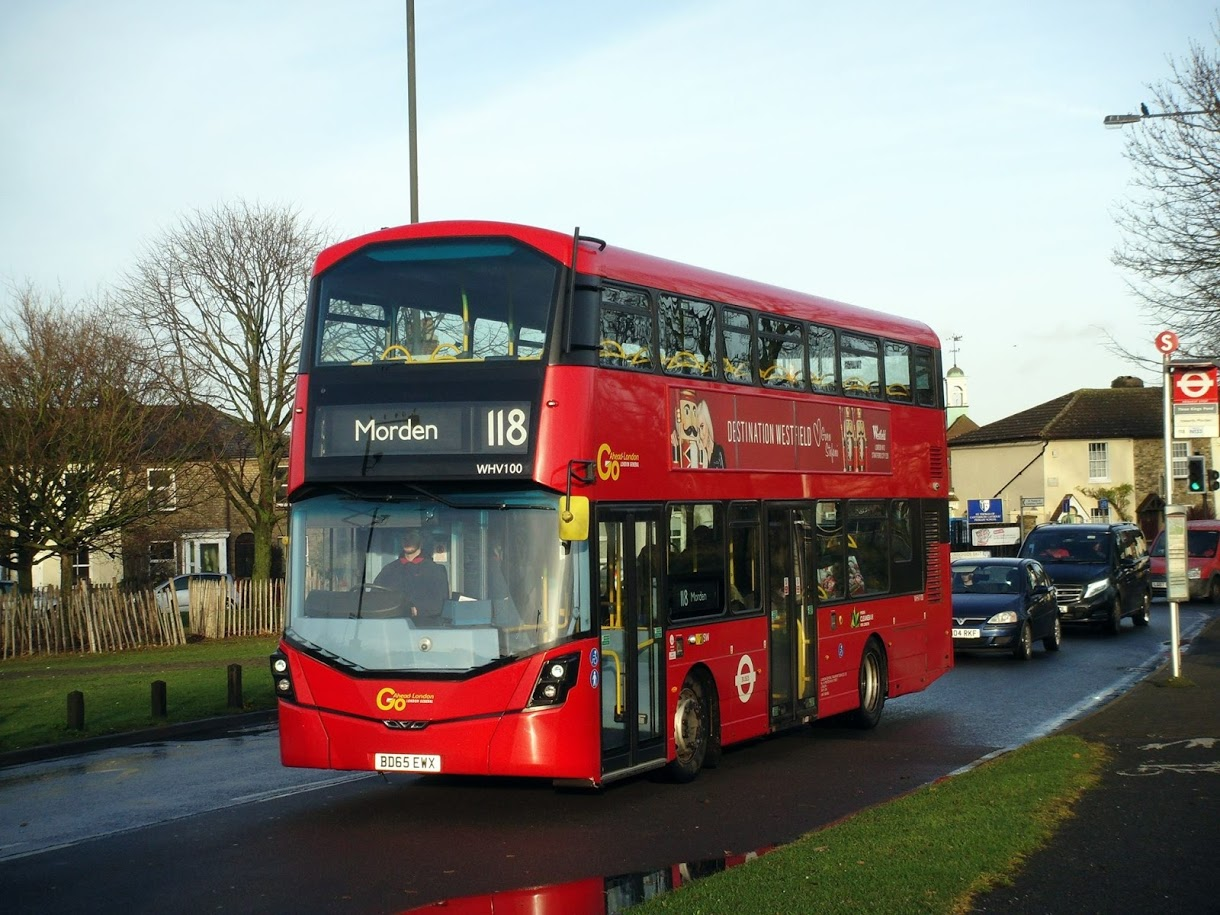 WHV100 normally used on Route 155 strays onto the 118 and is seen in Mitcham