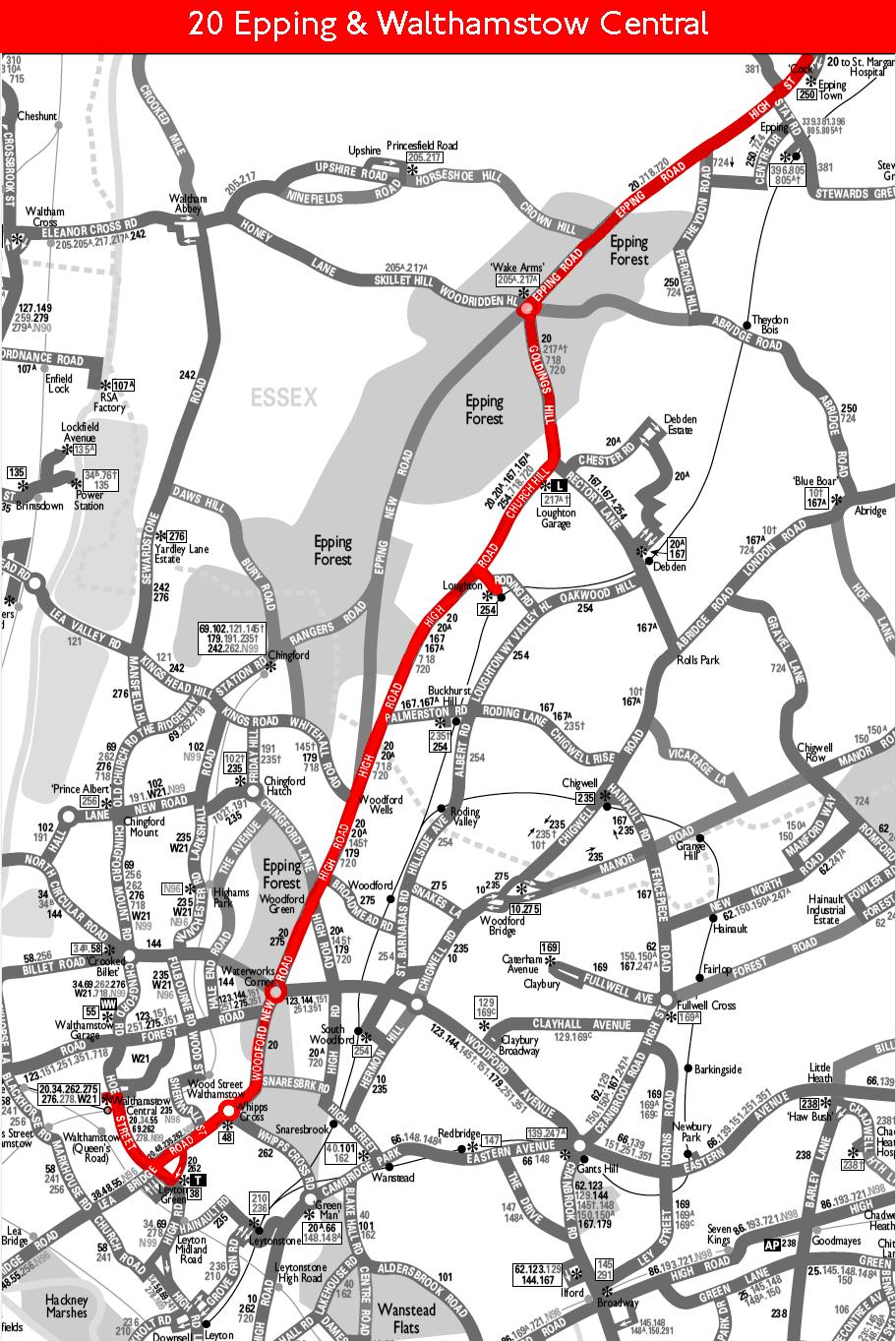 1970 map for Route 20