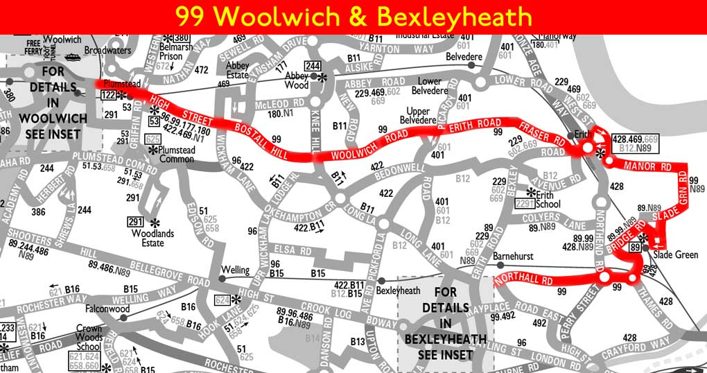 London bus route 99 for Time table bus 99