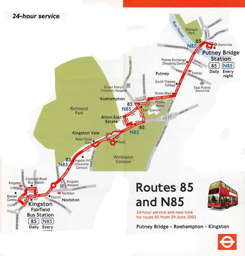 London bus route n85 for 85 bus timetable